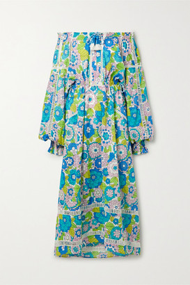 Dodo Bar Or Toto Off-the-shoulder Floral-print Cotton-voile Maxi Dress - Turquoise