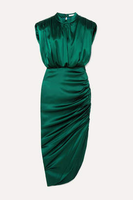 Veronica Beard Kendall Gathered Stretch-silk Satin Dress - Dark green