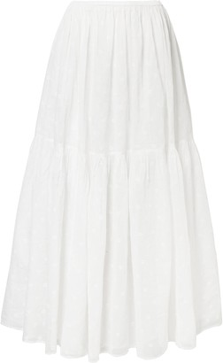 Mes Demoiselles Broderie Anglaise-paneled Gathered Cotton-organza Maxi Skirt