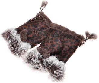 ZLYC Women Winter Faux Fur Half Finger Gloves Girls Warm Fingerless Mittens (Leopard Brown)