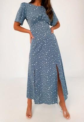 Missguided Blue Polka Dot Satin Flutter Sleeve Midi Dress