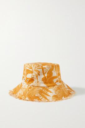 Zimmermann Printed Linen-twill Bucket Hat - Orange