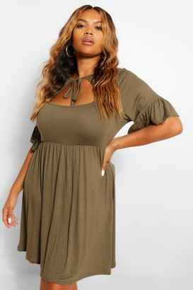 boohoo Plus Jersey Ruffle Smock Dress