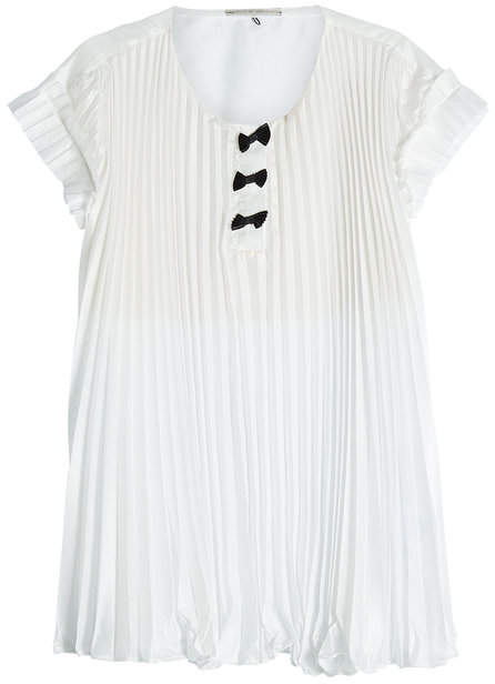 Marco De Vincenzo Pleated Crepe Top with Bows
