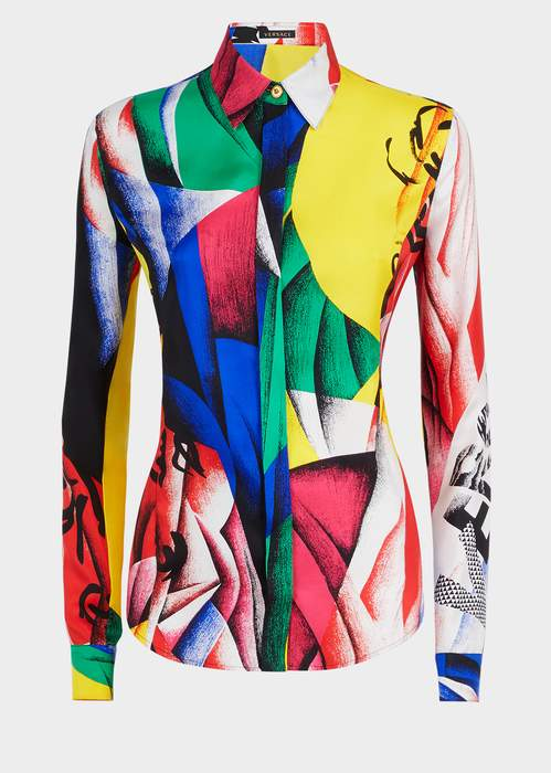 Versace The Clash Print Silk Shirt
