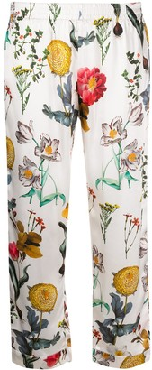 L'Autre Chose cropped Blooming Garden print silk trousers