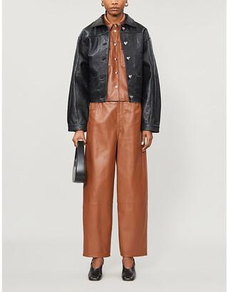 Saks Potts Embossed branded-print leather jacket