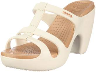 Crocs Women's Cyprus Lll Oyster/Gold T Straps Heels 11380-13S-500 8 UK