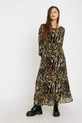 Gestuz Abstract Print Maxi Dress - yellow 34W at Urban Outfitters
