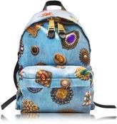 Moschino Denim Blue Printed Fabric Backpack
