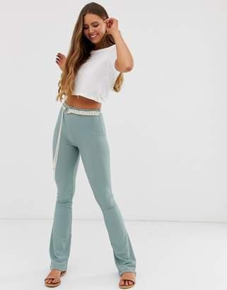 Asos Design DESIGN slinky rib flare trouser with rope belt-Blue