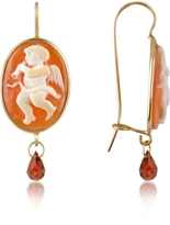 Del Gatto Angel w/Flute Cornelian Cameo Drop Earrings