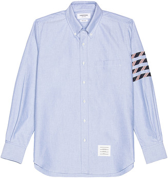Thom Browne 4 Bar Button Down Long Sleeve Shirt in Light Blue | FWRD