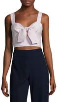 ABS by Allen Schwartz Women's Cotton Striped Key Hole Crop Top