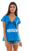 Rebel Yell Hamptons V Neck Tee in Vintage Royal