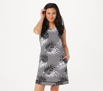 Denim & Co. Printed French Terry V-Neck Dress with Pockets