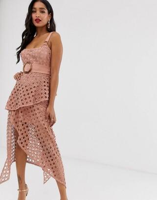 Asos Design DESIGN midi dress with square neckline and belt in basket weave lace-Pink