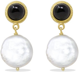 Vintouch Italy Gold-Plated Onyx & Keshi Pearl Earrings