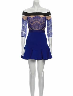 Three floor Lace Pattern Mini Dress Blue