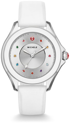 Michele Cape Multicolor Topaz, Stainless Steel & Silicone Strap Watch