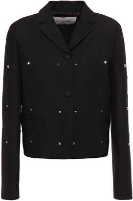 Valentino Studded Wool And Silk-blend Crepe Jacket