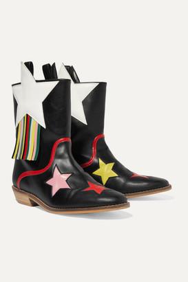 Stella Mccartney Kids Fringed Faux Leather Cowboy Boots - Black