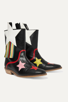 Stella McCartney Fringed Faux Leather Cowboy Boots - Black
