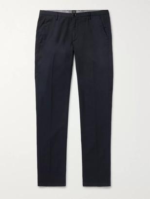 HUGO BOSS Navy Slim-Fit Garment-Dyed Stretch-Cotton Twill Chinos