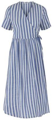 Pieces Malia Striped Wrap Midi Dress - XS
