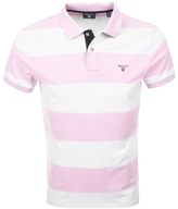 Gant Contrast Collar Barstripe Polo T Shirt Pink