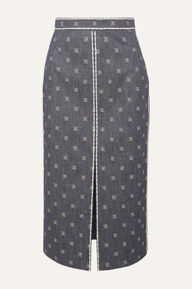 Fendi Embroidered Denim Midi Skirt - Blue