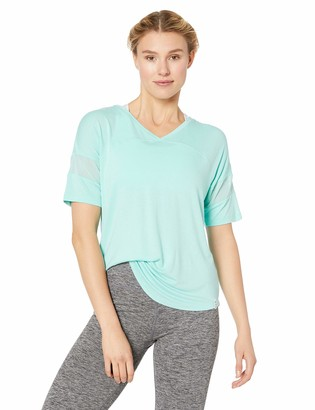 Andrew Marc Women's Short V-Neck Tee with Mesh Bands on Sleeve