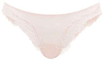 La Perla Camelia Floral-embroidered Mesh Brazilian Brief - Womens - Light Pink