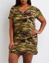 Charlotte Russe Plus Size Patched Camo T-Shirt Dress