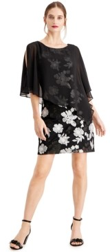 Connected Embroidered Chiffon-Capelet Dress