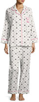 BedHead Queen Long-Sleeve Pajama Set, White/Black