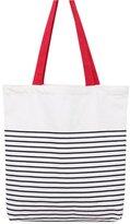 Caixia Women's Black Stripe Print Canvas Tote Bag Shoulderbag White (black-zip)