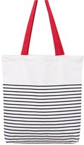 Caixia Women's Black Stripe Print Canvas Tote Bag Shoulderbag White (red-zip)