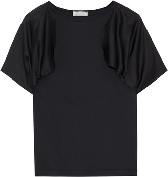 Nina Ricci Draped Satin-paneled Cotton-jersey T-shirt