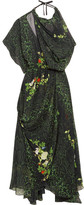 Preen by Thornton Bregazzi Emma One-shoulder Printed Silk-georgette Midi Dress - Emerald