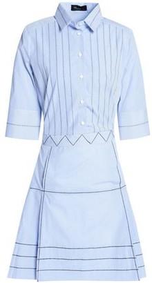 Piazza Sempione Embroidered Striped Stretch-cotton Poplin Mini Dress