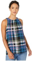 Vince Camuto Specialty Size Petite Sleeveless Plaid Escape Blouse (Deacon Blue) Women's Blouse
