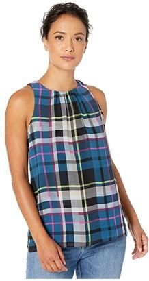 Vince Camuto Specialty Size Petite Sleeveless Plaid Escape Blouse (Deacon Blue) Women's Blouse