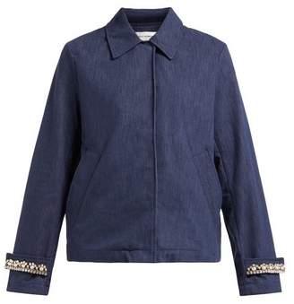 Wales Bonner Crystal Embellished Blouson Denim Jacket - Womens - Indigo
