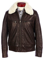Andrew Marc Carmine Lambskin Leather Bomber Jacket