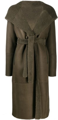 Fur-Trimmed Hooded Trench Coat