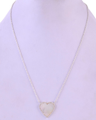 Mother of Pearl Forever Creations Silver 6.50 Ct. Tw. Diamond & Mother-Of-Pearl Heart Necklace