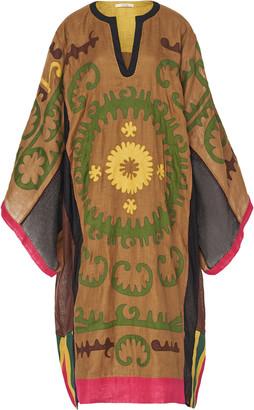 Vita Kin Santal Appliqued Embroidered Linen Caftan