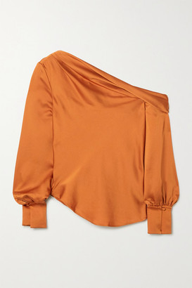 Jonathan Simkhai Alice Draped One-shoulder Satin Blouse - Camel