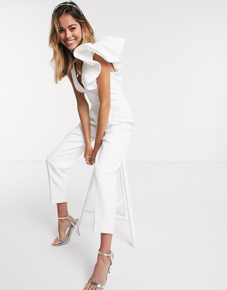Ever New elevated ruffle shoulder jumpsuit in white